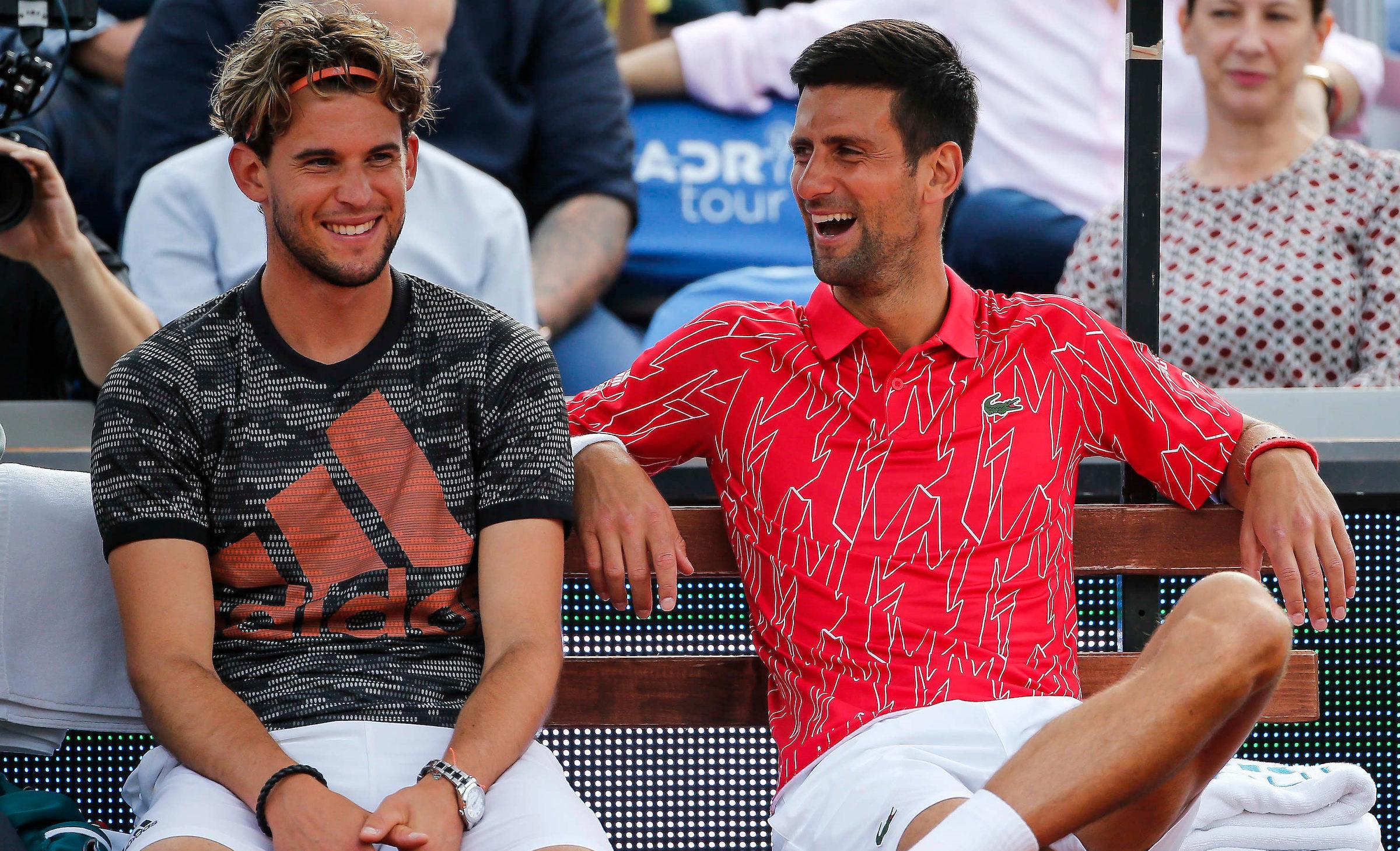 Dominic Thiem i Novak Djokovic (fot. Adria Tour)